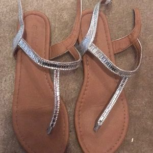 Silver sandals with rhinestone detail